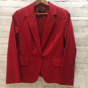Talbots red cotton blend running stitch blazer 10P